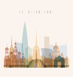 St petersburg skyline detailed silhouette vector