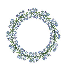 summer wreath with forget-me-not flowers vector image