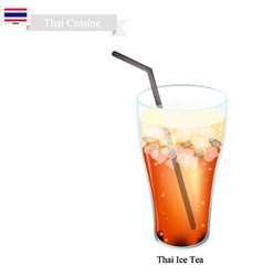 Thai Ice Milk Tea A Famous Beverage in Thailand vector