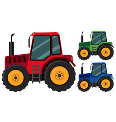 tractors in three different colors vector image