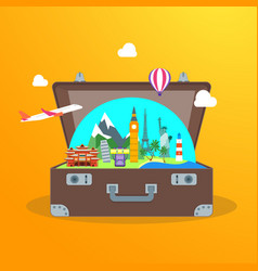 travel concept with open suitcase vector image