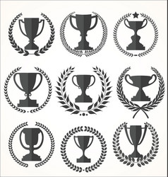 Trophy and awards retro vintage collection vector