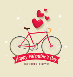 Valentine day celebration with bicycle vehicle vector