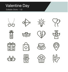 valentine day icons modern line design vector image