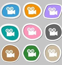 video camera icon symbols Multicolored paper vector image