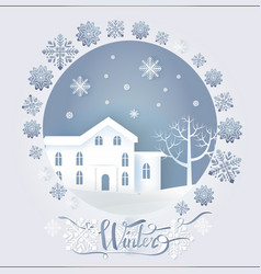 Winter card with big dwelling near tree vector