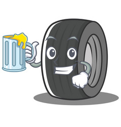 With juice tire character cartoon style vector