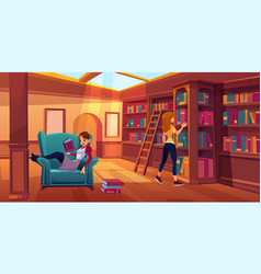 Women in library reading and searching books vector