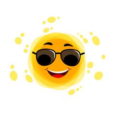yellow cute sunshine childish sun joy funny sun vector image