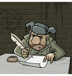 cartoon male inmate writes a pen on paper vector image vector image