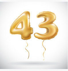 Golden 43 number forty three metallic balloon vector
