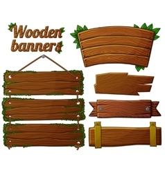 Set of dark wooden banners 2 vector image