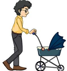 A man and baby pram vector image