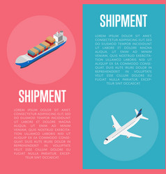 freight shipment isometric banner set vector image vector image