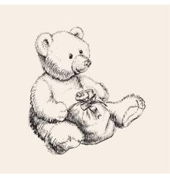Hand drawn bear toy vector image vector image