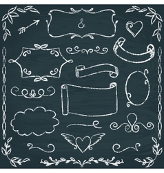 Hand-drawn chalkboard frames and elements set vector image