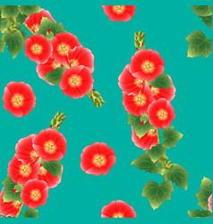 orange red alcea rosea - hollyhocks aoi on green vector image vector image