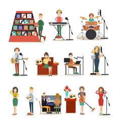 radio people flat icon set vector image vector image
