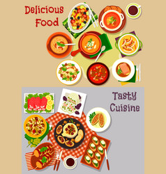 salad snack and soup dishes icon for food design vector image vector image