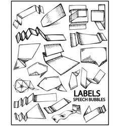 set of hand drawn labels vector image