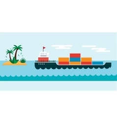 Ship cargo sea transportation vector image vector image