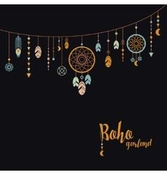 Black background with boho garland vector image