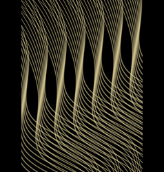 golden waves of black background abstract vector image