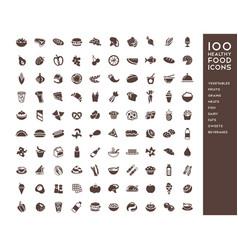 100 healthy food icons vector image vector image