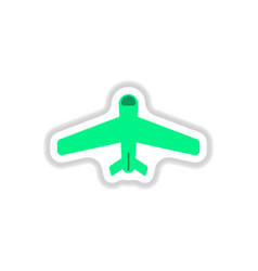 paper sticker on white background airplane vector image
