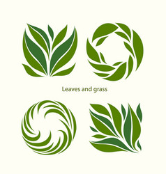 set grass and leaves label abstract design square vector image