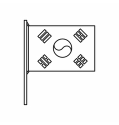 South Korea flag icon outline style vector image