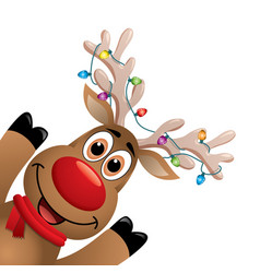 Xmas drawing of funny red nosed reindeer vector