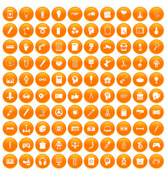 100 creative idea icons set orange vector