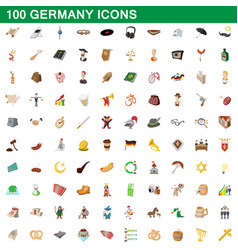 100 germany icons set cartoon style vector image