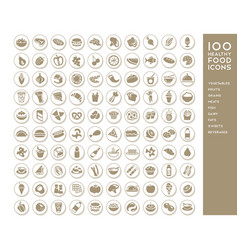 100 healthy food icons vector image