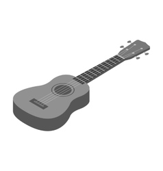 Acoustic bass guitar icon in monochrome style vector