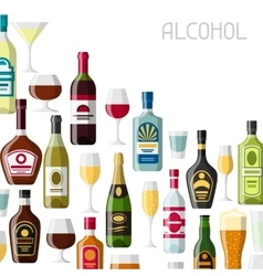Alcohol drinks background design Bottles glasses vector