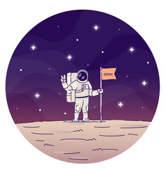 astronaut planting flag on moon flat concept icon vector image