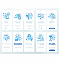 Autistic therapy methods onboarding mobile app vector