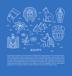 banner with egypt symbols in line style and place vector image