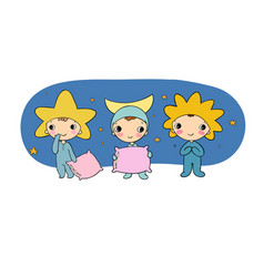 Boys gnome in the costumes of the moon the sun vector
