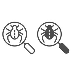 bug searching line and glyph icon magnifying vector image