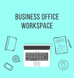 business office workspace with thin line items vector image