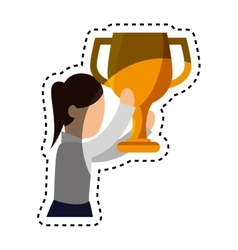 Businesswoman character avatar with trophy vector