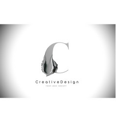 C letter design brush paint stroke black c letter vector