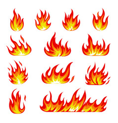 cartoon fire icons set flame symbols vector image