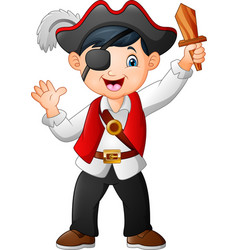 cartoon pirate boy holding a wooden sword vector image