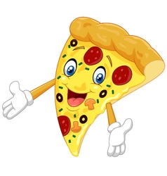 Cartoon pizza waving vector image