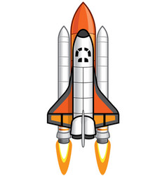 Cartoon space shuttle and booster vector