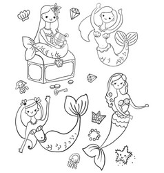 childrens coloring four cute mermaids vector image